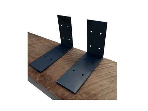 Extra Wide Industrial Steel Floating Shelf L/J Bracket - 2 Pack - No Lip