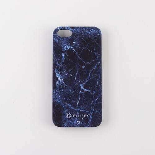 Blurby Navy Blue Marble Matte Silk