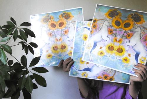 Unicorns and Sunflowers Print