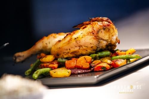 HONEY AND THYME ROASTED HALF CHICKEN