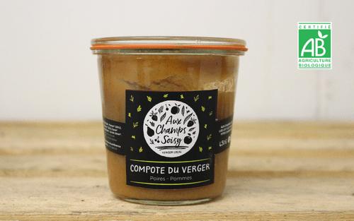 Compote de pommes (2 saveurs) - 450 g - Aux Champs Soisy