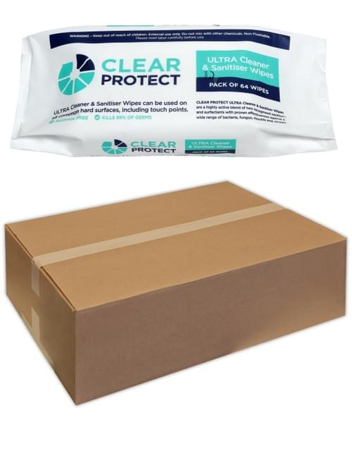 CARTON: Clear Protect ULTRA Cleaner & Sanitiser Surface Wipes (16 x Packs of 64 Wipes)