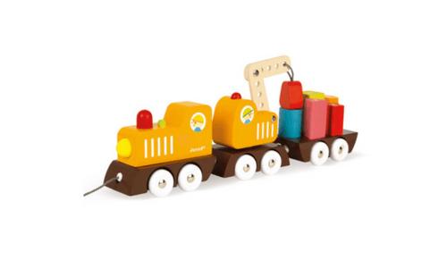 【法國Janod】經典設計木玩-胖嘟嘟工程火車