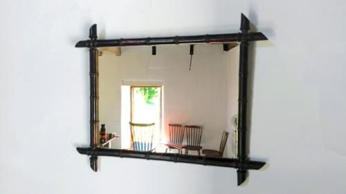 Miroir antique en bois tourné dit bambou –Circa 1940