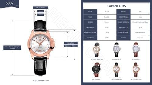 MEGIR Women Quartz Watch ML5006L