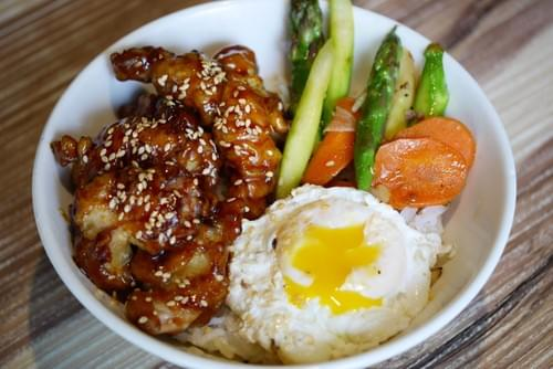 Grilled Teriyaki Chicken Onsen Egg  Rice Bowl