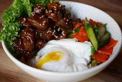 Teriyaki Beef Cube Onsen Egg Rice Bowl