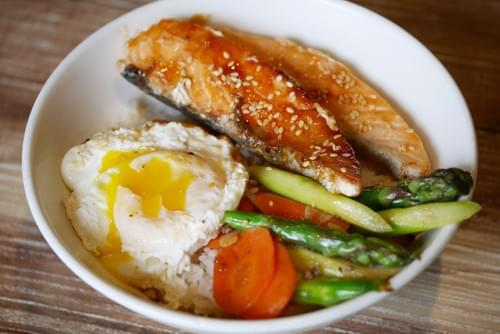 Grilled Salmon Onsen Egg  Rice Bowl