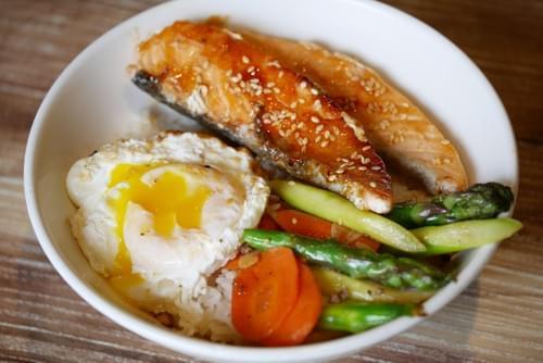 Grilled Salmon Onsen Egg Rice Bowl