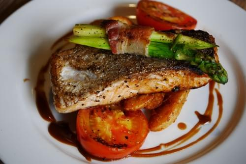 Grilled Salmon with Wedges + Veg