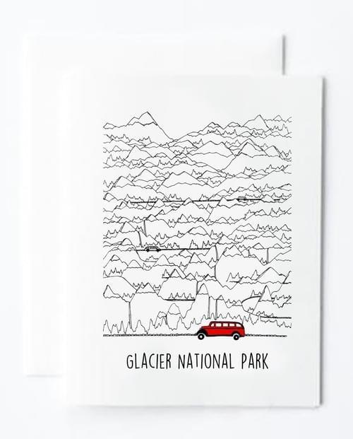 Glacier Park Jammer & Mtns Note Card