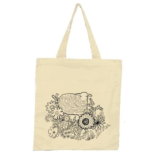 Flower Patch Sheep Tote Bag