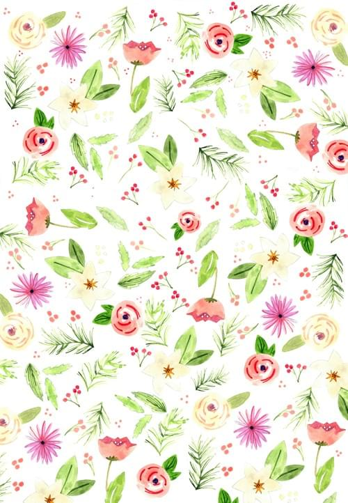 Winter Floral Gift Wrap Sheets