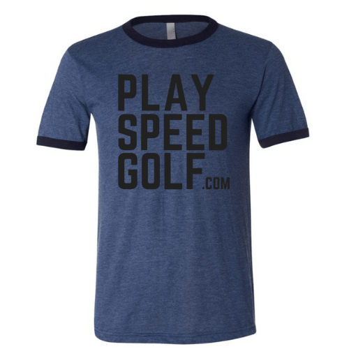 PlaySpeedgolf.com Ringer Tee - Heather Navy/Midnight