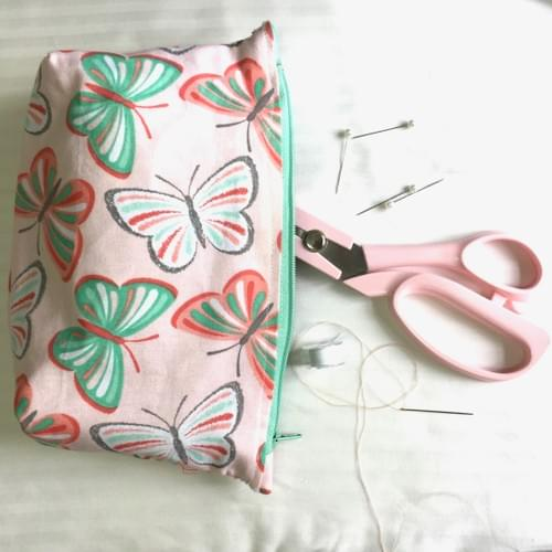 Boxed corner pouch sewing workshop