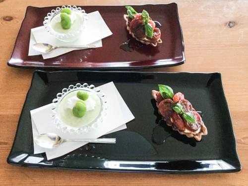 折敷(Orishiki)pair rectangular plates  (black&red)