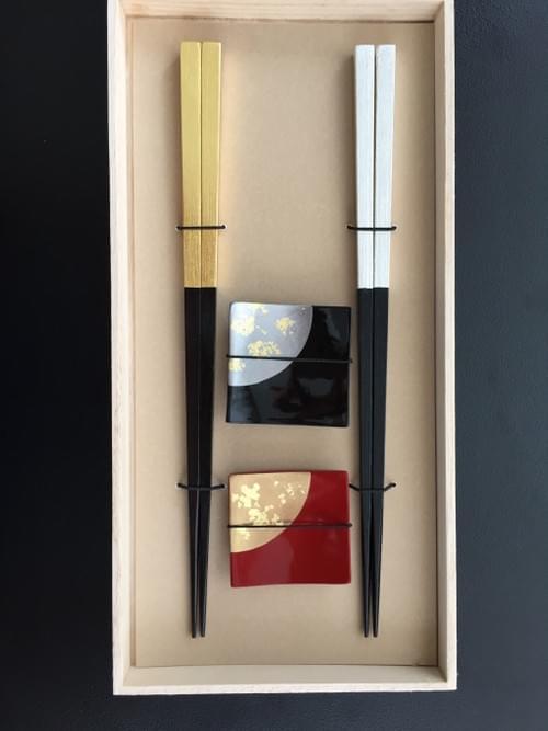 Gold and Silver Chopsticks with chopsticks rests  Gift set