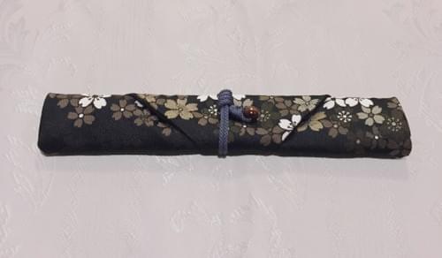 Chopstick Wrapper (BLACK with cherry blossom)