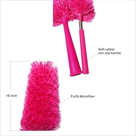 Large Fluffy Microfiber Dusters - With Retractable Long-Reach Washable Dusting Brush