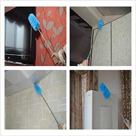 """Fluffy Microfiber Duster - With 32"""" Inch Telescoping Pole, Retractable Long-Reach Washable"""