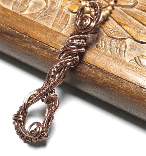 Copper Wire Wrapped Pendant, Wire Weave Jewelry