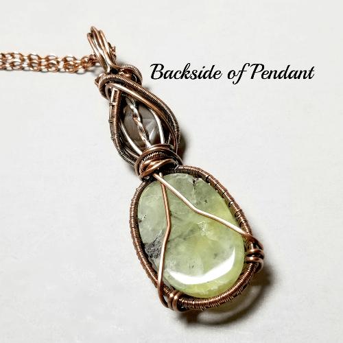 Prehnite Necklace, Wire Weave Jewelry, Gemstone Pendant