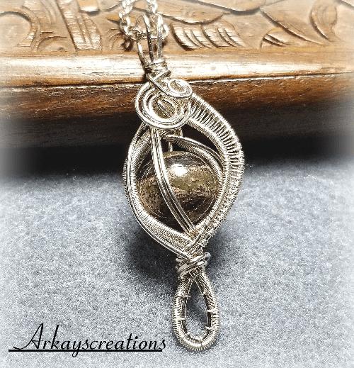 Wire Wrapped Jasper Pendant, Stone Necklace