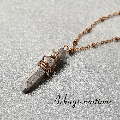 Pyrite Point Necklace, Stone Pendant, Wire Wrapped