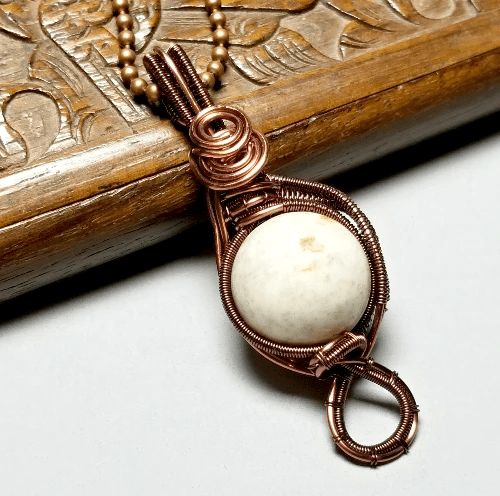 White Howlite Wire Wrapped Necklace, Copper Jewelry