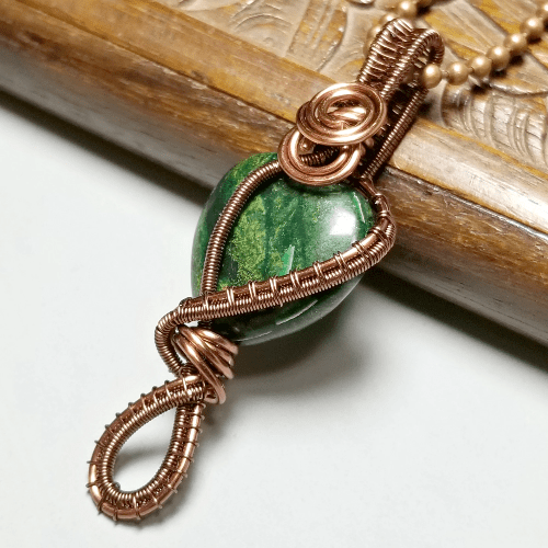 Green Stone Pendant, Wire Weave Necklace