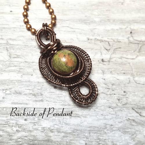 Unakite Stone Necklace, Wire Weave Jewelry