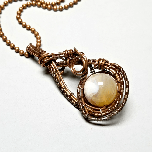 Agate Copper Wire Wrapped Pendant, Agate Necklace