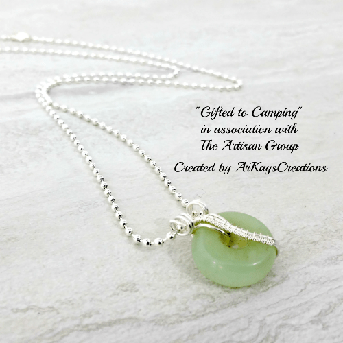 Wire Wrapped Aventurine Necklace Gift for Her, Gemstone Donut Necklace - 18 inches