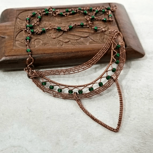 Unusual Necklace, Wire Wrapped Jewelry for Women