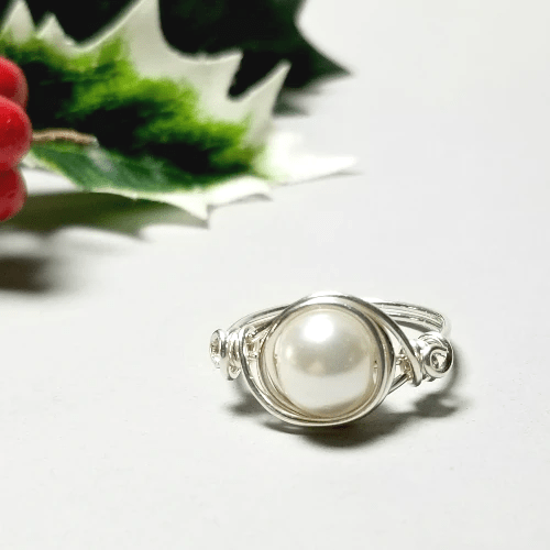 White Pearl Ring, Sterling Silver Stacking Ring, Christmas Gift Idea