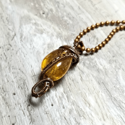 Wire Wrapped Amber Pendant, Amber Jewelry