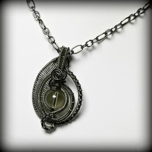 Wire Weave Smoky Quartz Necklace, Quartz Pendant