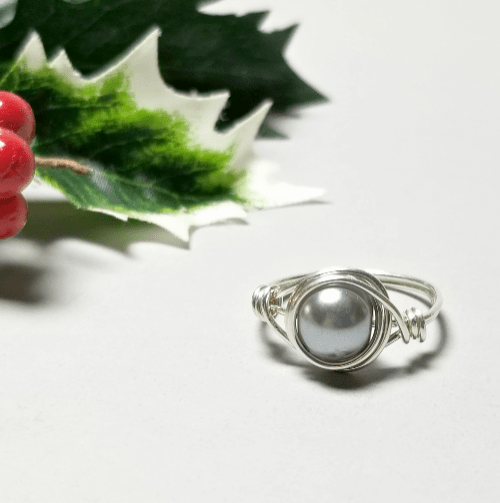 Wire Wrapped Ring, Sterling Silver Pearl Ring, Gift Idea for Women