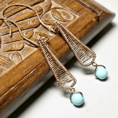 Copper Wire Wrapped Earrings, Healing Copper Jewelry