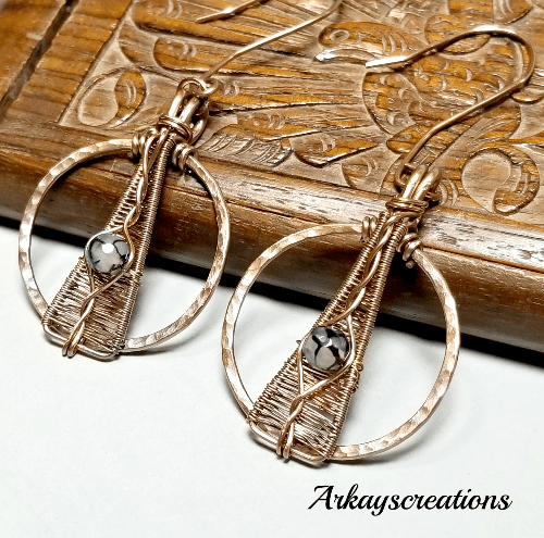 Copper Wire Wrapped Earrings with Dragon Vein, Agate Jewelry