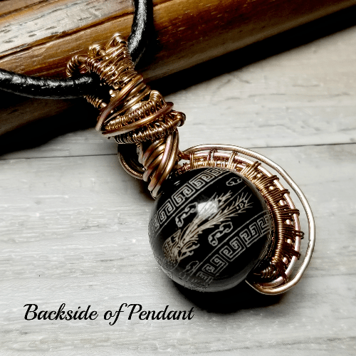 Wire Wrapped Etched Stone Dragon Necklace