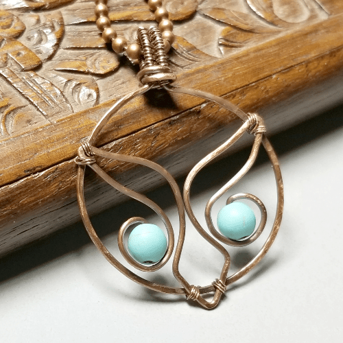 Wire Wrapped Owl Pendant, Copper Owl Necklace