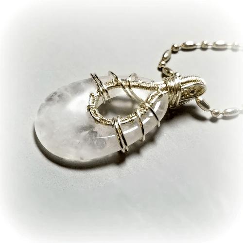 Rose Quartz Pendant Necklace, Wire Wrapped Quartz