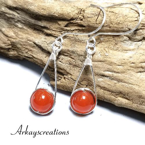 Silver Carnelian Earrings, Womens Earrings Dangle, Wire Wrapped Jewelry