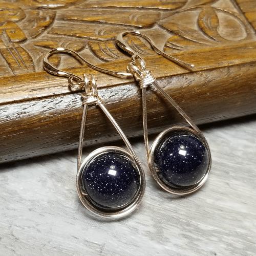 Blue Goldstone Galaxy Earrings, Navy Blue Jewelry, Rose Gold Glitter Earrings