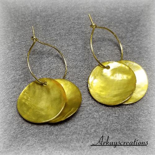Sea Shell Earrings Hoops, Reversible Earrings