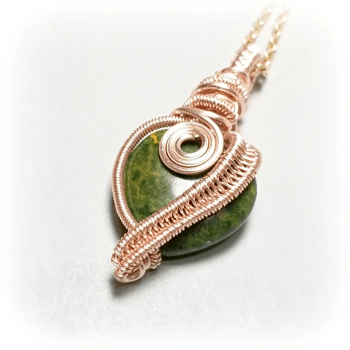 Rose Gold Wire Weave Pendant, Green Unakite Stone Necklace