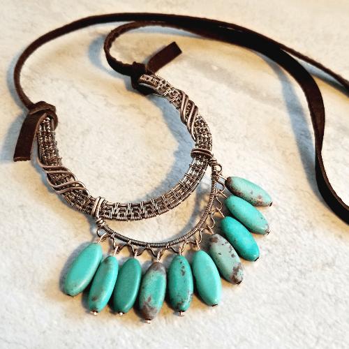 Bohemian Necklace, Boho Style Wire Wrap Jewelry