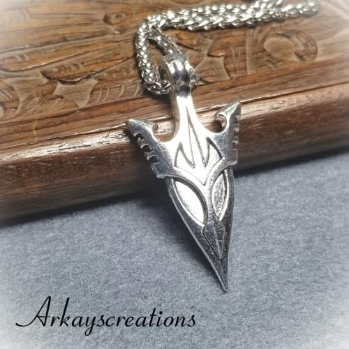 Silver Arrowhead Necklace, Edgy Mens Jewelry