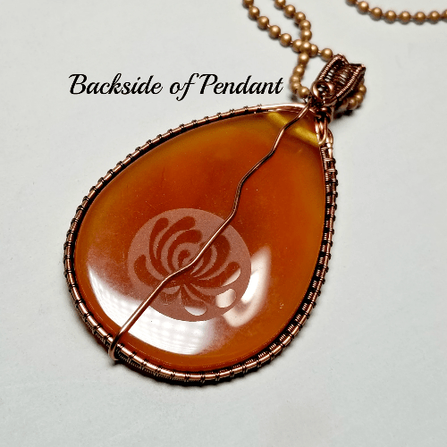 Large Etched Teardrop Stone Necklace, Healing Jewelry